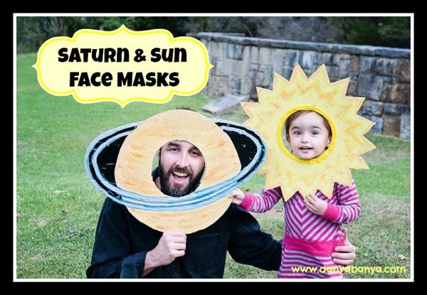 Saturn and sun face masks