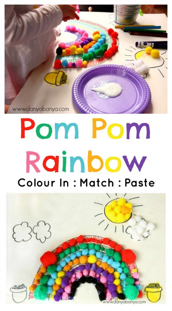 Colour, match and stick a Pom Pom Rainbow! Fun fine motor, colour recognition activity for Spring or St Patrick's Day