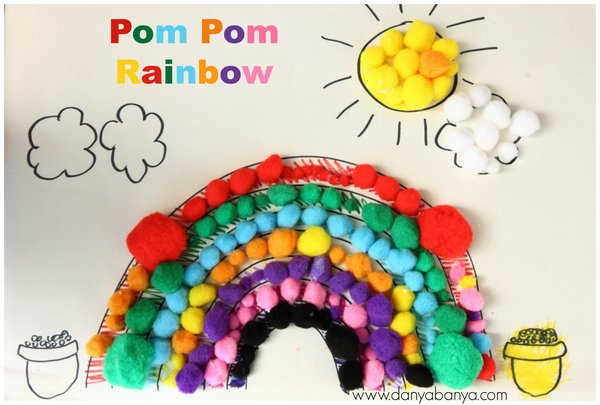 Pom Pom Rainbow for learning colours