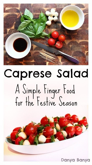 Caprese salad: a simple finger food for the festive season. Great to bring along to Christmas parties, especially with the red, white and green colours!