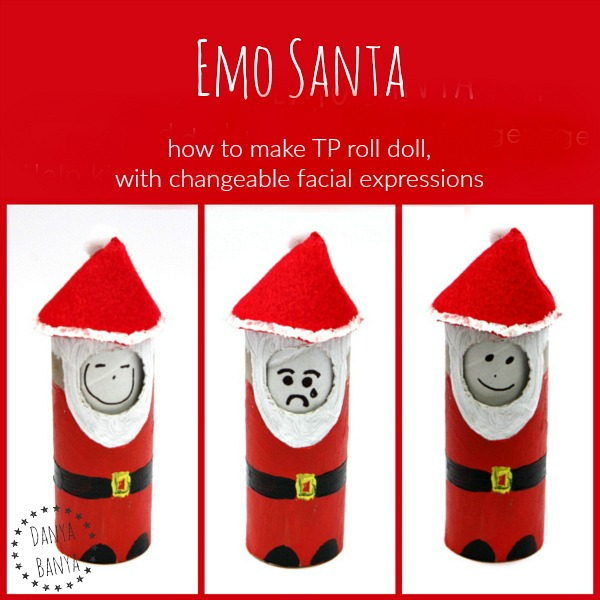 Emo Santa - how to make a TP roll doll with changeable facial expressions