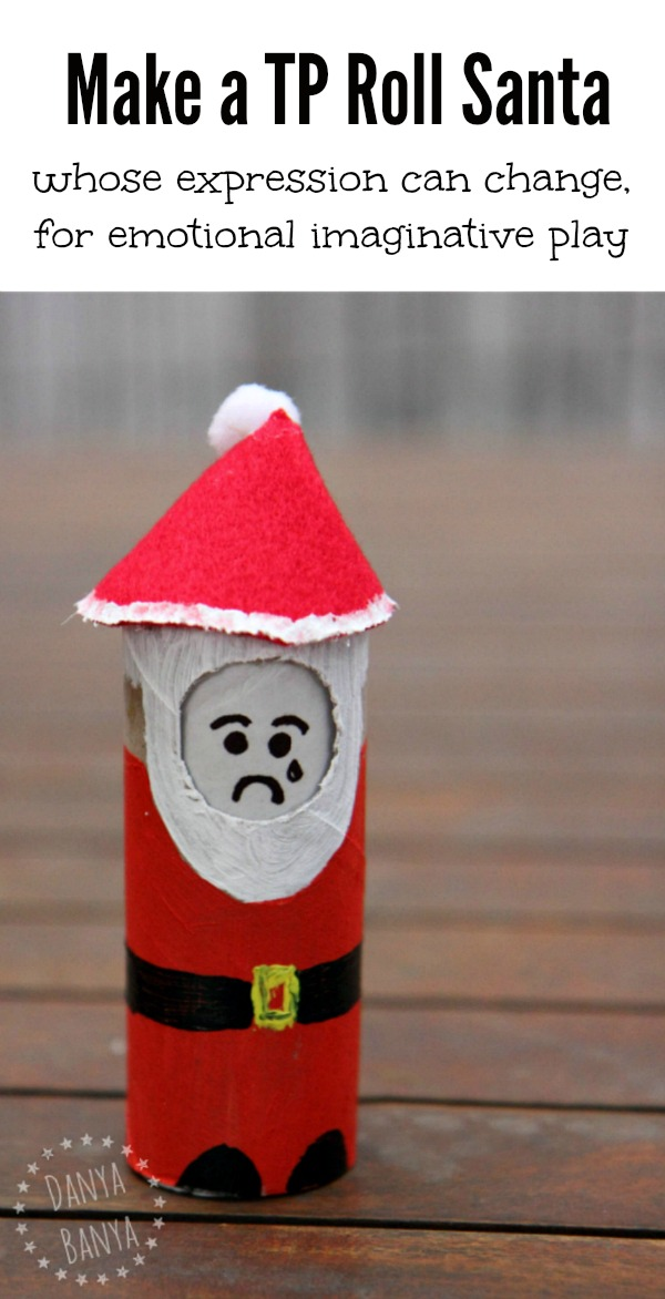 Make a TP Roll Santa whose expression can change for emotional imaginative play