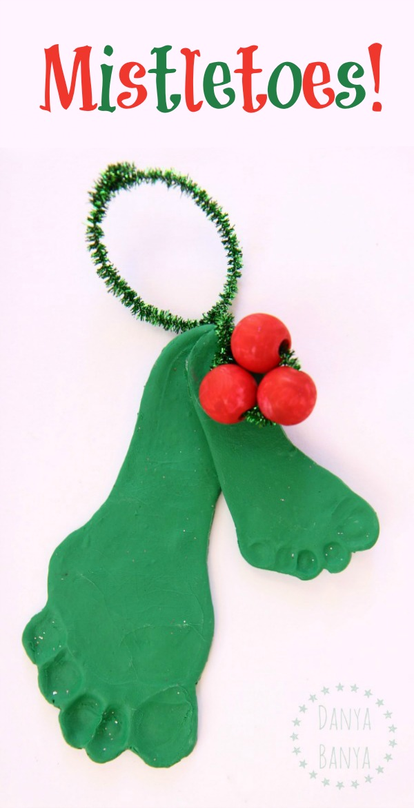 Mistletoes - cute diy baby and toddler sibling footprint mistletoe polymer clay Christmas ornament keepsake