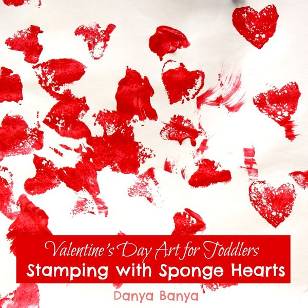 Valentines Day Art for Toddlers - Stamping with Sponge Hearts