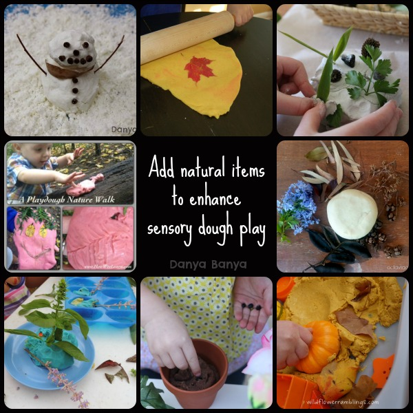 Add natural items to enhance sensory dough play