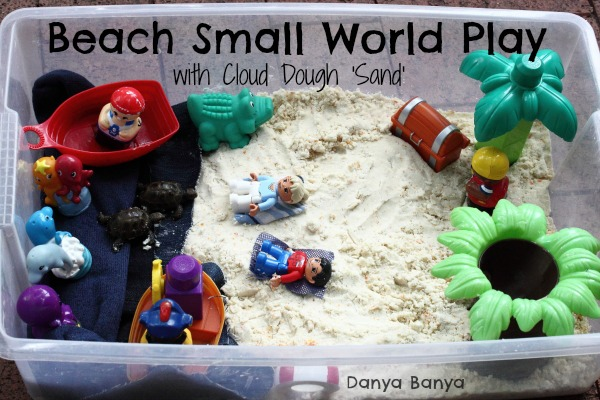 Beach Small World Play with Cloud Dough Sand