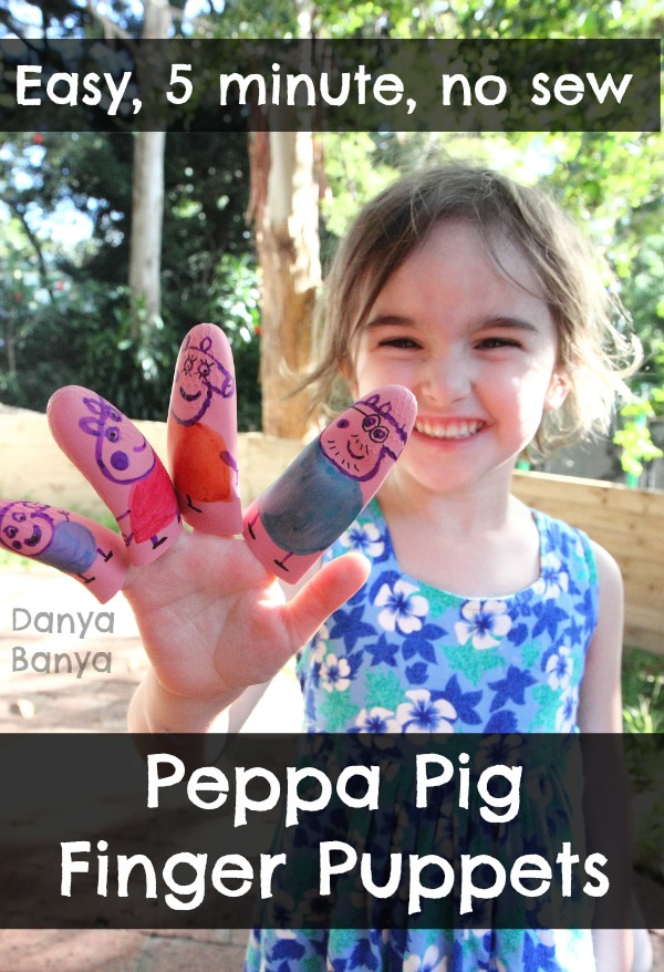 Easy, 5 minute, no sew Peppa Pig Finger Puppets