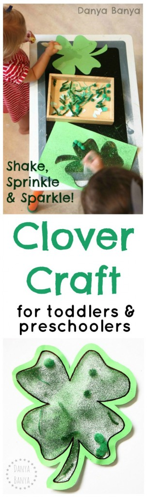 Four leaf clover craft that toddler and preschool aged kids can do together