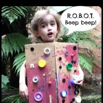 Kid-made robot costume