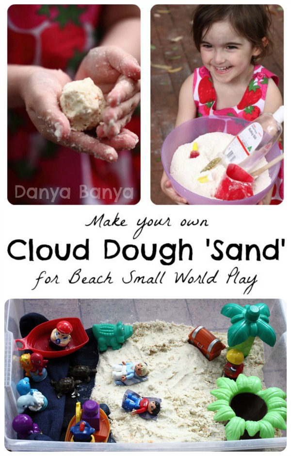 Make your own Cloud Dough Sand for Beach Small World Play
