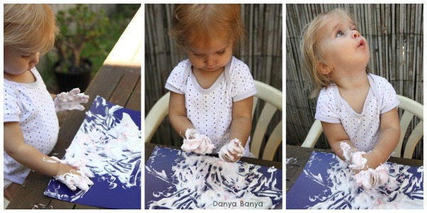 Playing with shaving cream