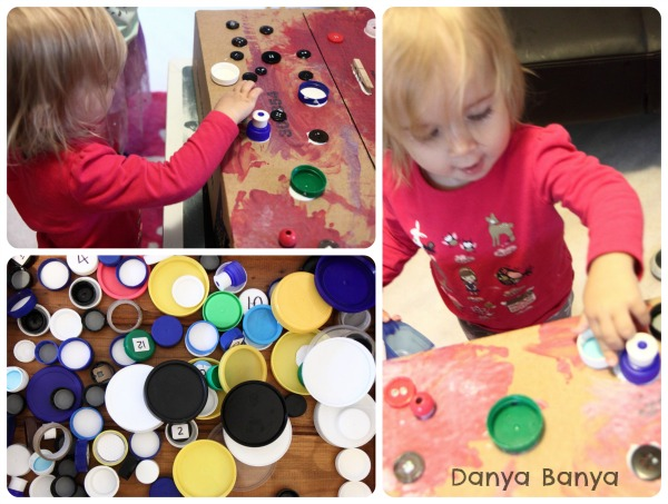 Toddler gluing bottletops