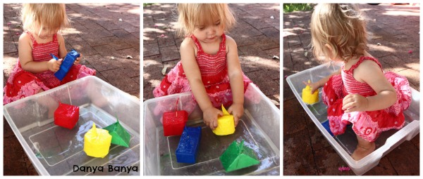 Water play with colour & shape boats