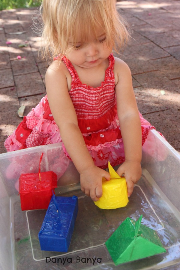Water play with upcycled polystyrene (styrofoam) boats