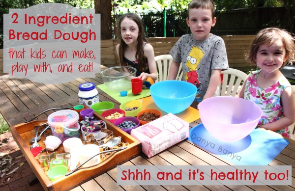 2 Ingredient Bread Dough that kids can make, play with and eat