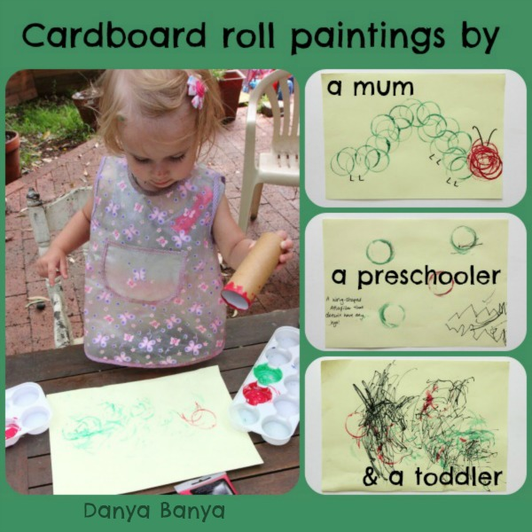 Cardboard roll paintings by a mum a preschooler and a toddler