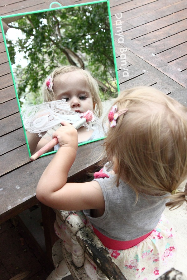 Easy fun for toddlers! Painting on mirrors with shaving cream