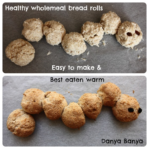 Healthy wholemeal bread rolls