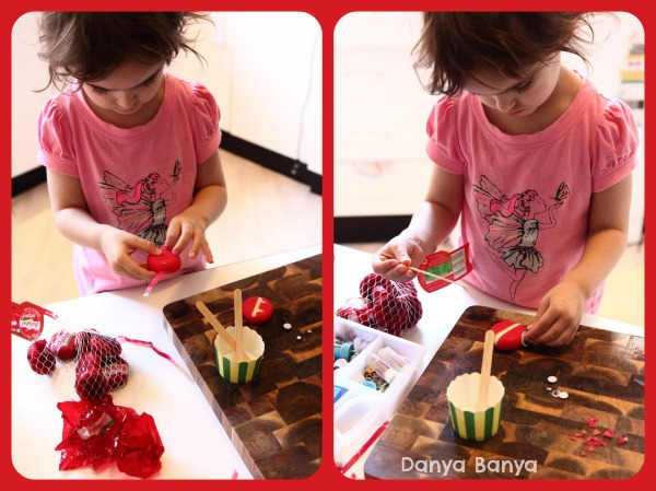 JJ helping to make the babybel cheese monsters