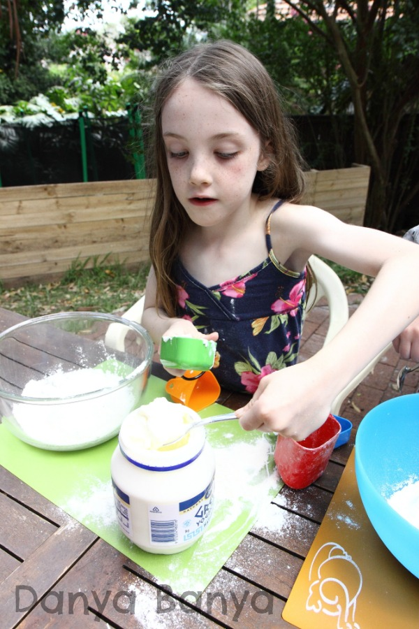 One cup of flour and two thirds of a cup of yoghurt