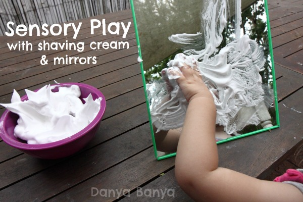 Sensory Play with shaving cream and mirrors