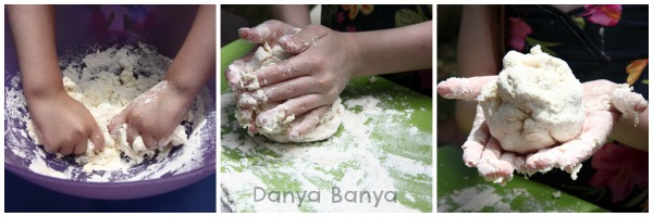 Squishing, squeezing and kneading the bread dough