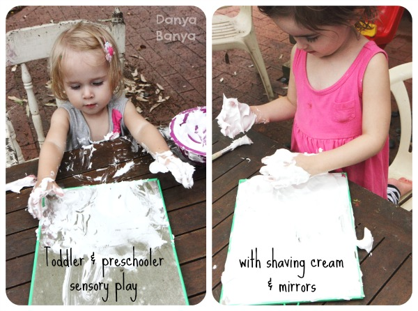 Toddler and preschooler sensory play with shaving cream and mirrors