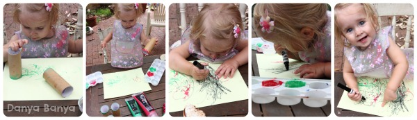 Toddler art using toilet paper roll stampers and marker
