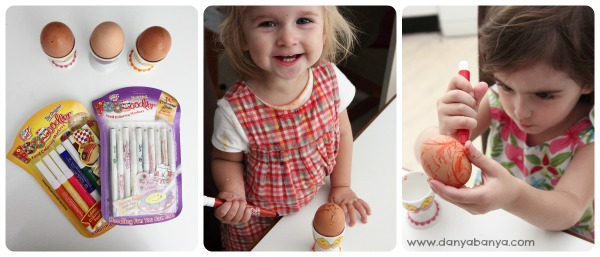 Decorating Hard Boiled Easter Eggs with Edible Markers for Toddlers and Preschoolers