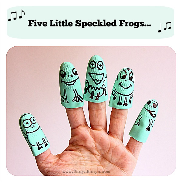 Five little speckled frogs finger puppets made from a rubber washing up glove