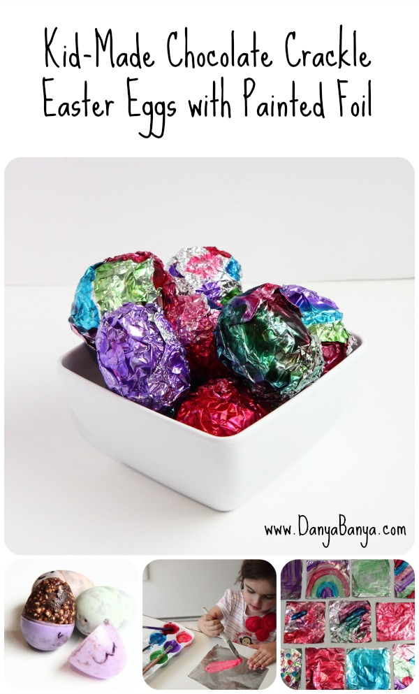 Kid-Made Chocolate Crackle Easter Eggs with Painted Foil
