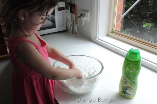 Making the apple scented play dough