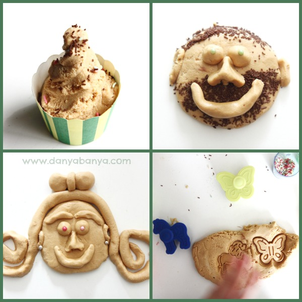 Peanut butter edible playdough creations