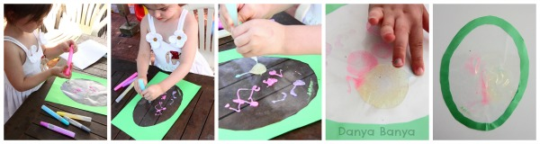 Preschooler Easter Egg window art with glitter glue