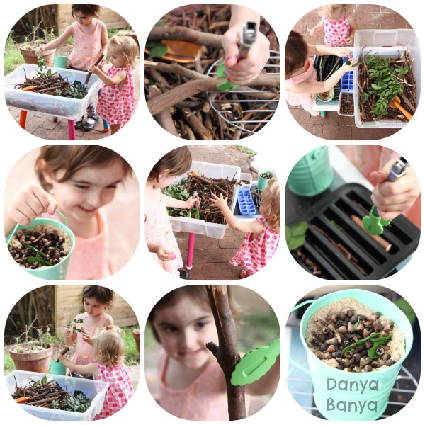 Sensory bin with sticks and other natural items