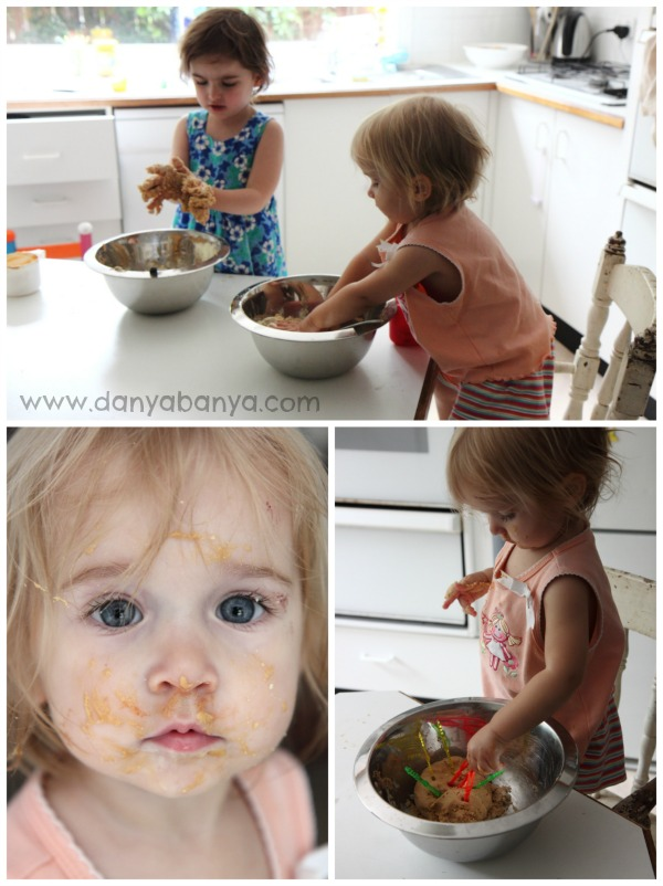 Toddler sensory play with edible peanut butter playdough