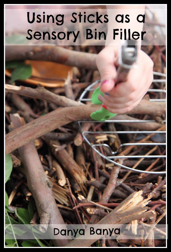 Using sticks as a sensory bin filler