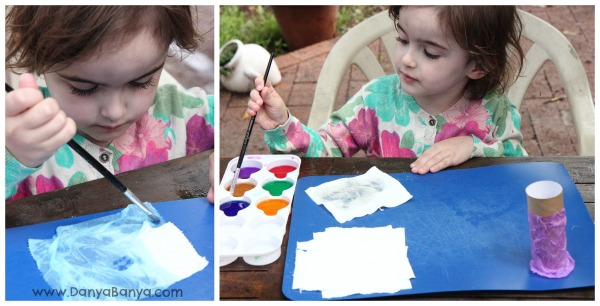 Watercolour painting on toilet paper to make clothes for loo roll dolls