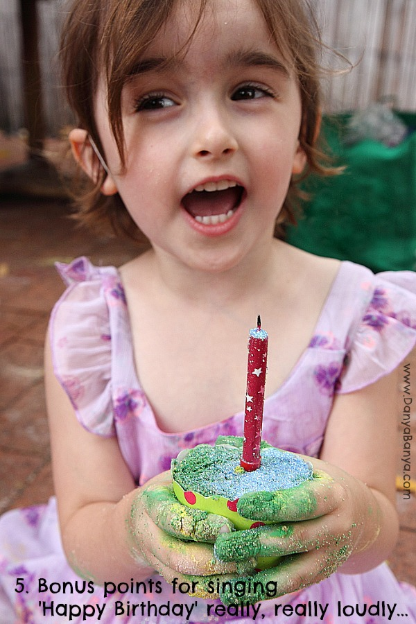 DIY moon sand cupcakes for messy play with bonus points for singing Happy Birthday