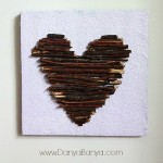 Heart Art from sticks and recyclables