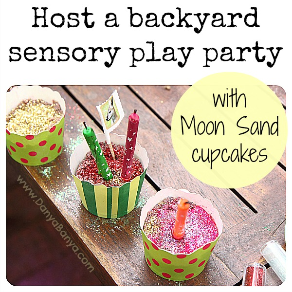 Host a backyard sensory play party with DIY moon sand cupcakes