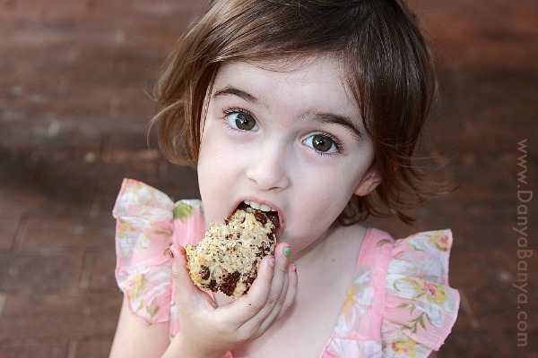 Taste testing the Chocolate Bread (she gave it a rating of 1000 noms)