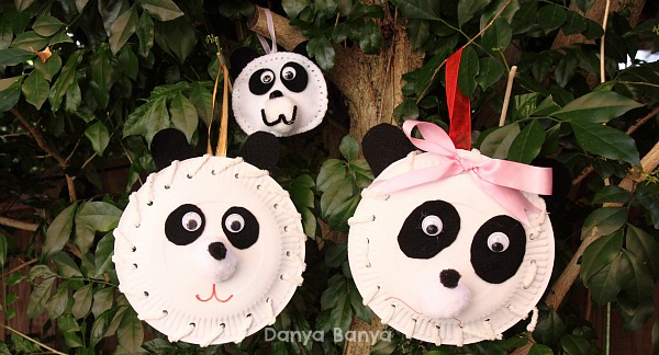 Paper plate panda party decorations