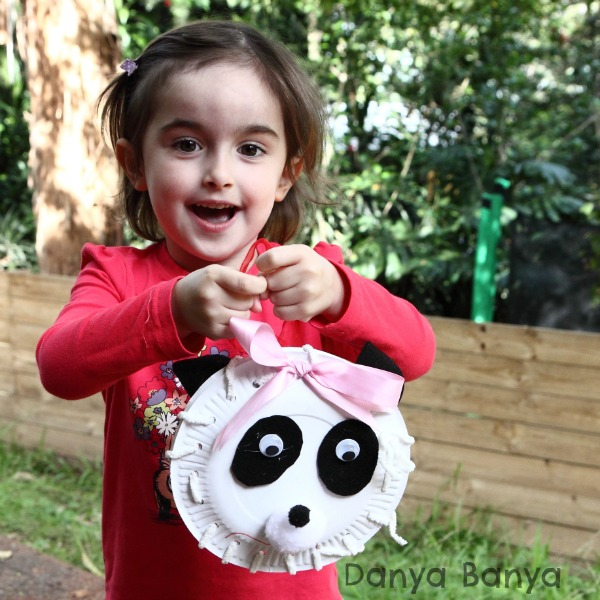 Preschooler threading idea paper plate panda