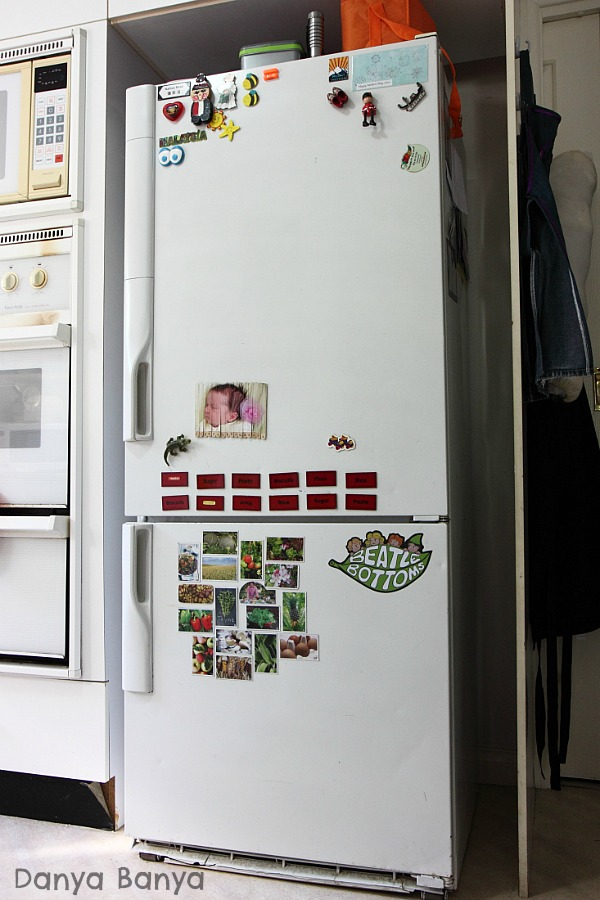 Put DIY fridge magnets at child height as a child-led learning and play prompt