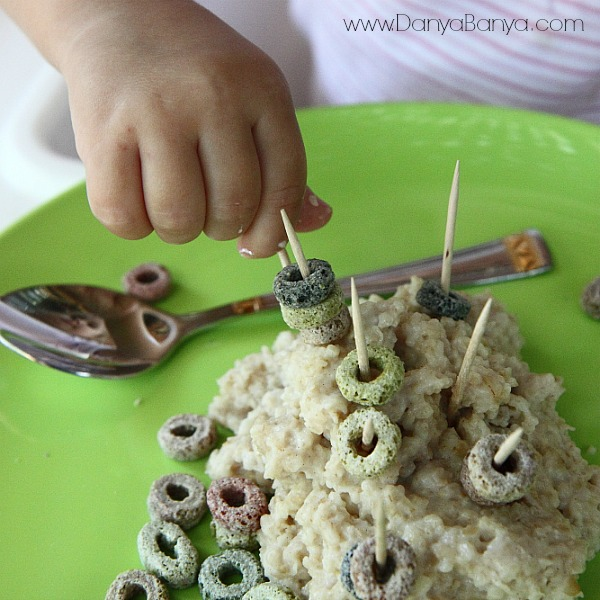 Toddler fine motor play with toothpicks