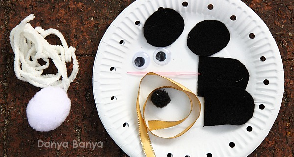 What you need to make a paper plate panda