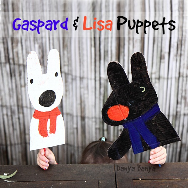 Cute Gaspard and Lisa puppets, would be an easy and fun craft idea for preschoolers, and guess what they used to paint Lisa