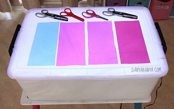 Invitation to explore colours and scissors on the new light table