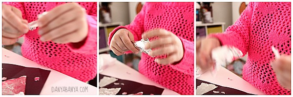 Learning to tear foil, great fine motor play
